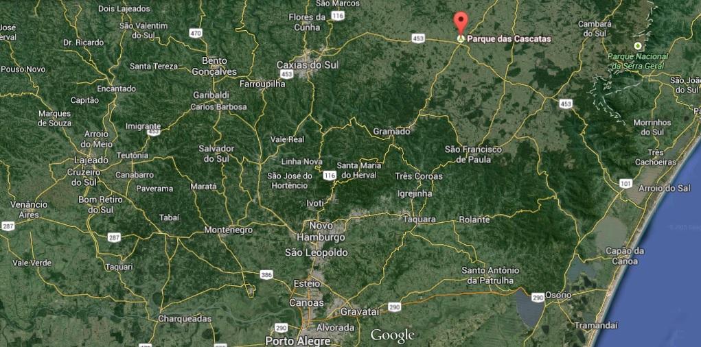Parque das Cascatas - Lajeado Grande/RS mapa
