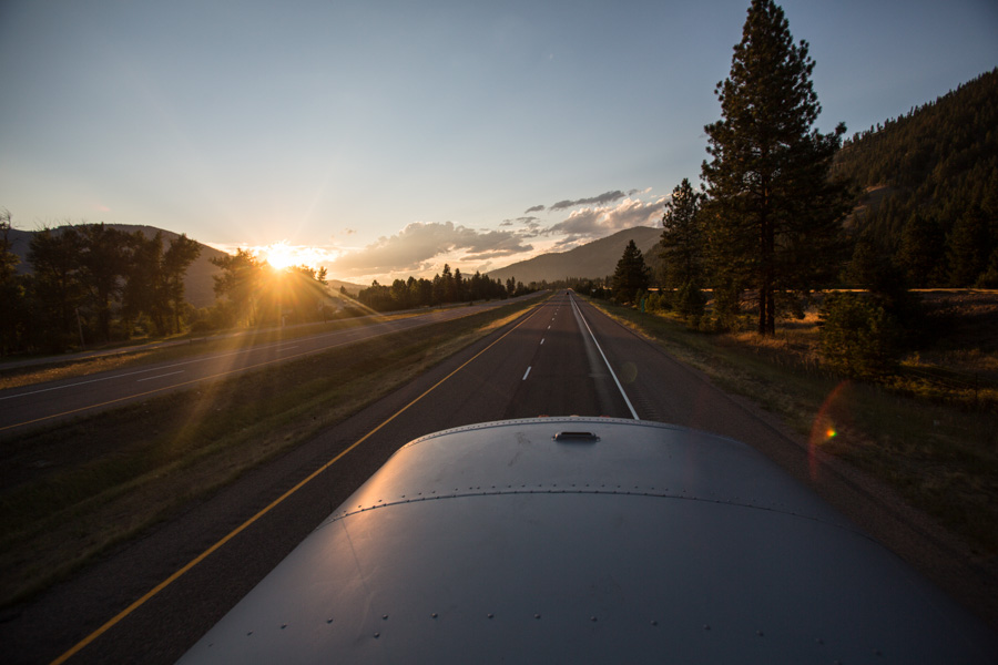 Sunset on the road to Missoula.