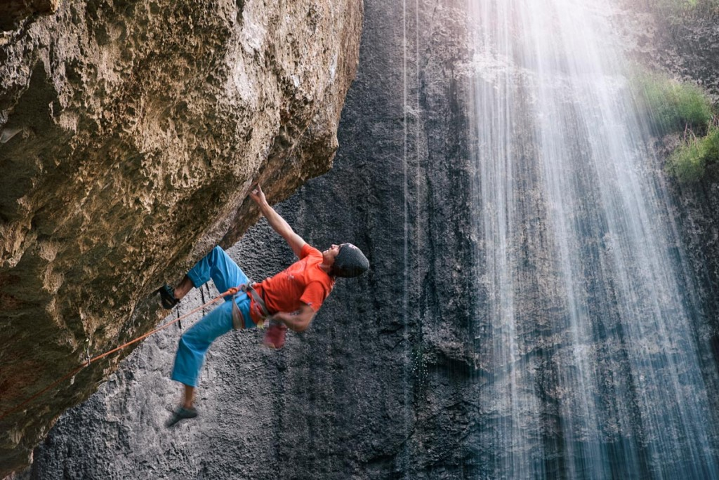 David Lama climbs the first ascent of Avaatara (5.14d) in the Baatara Gorge near Tannourine, Lebanon on June 17th, 2015.