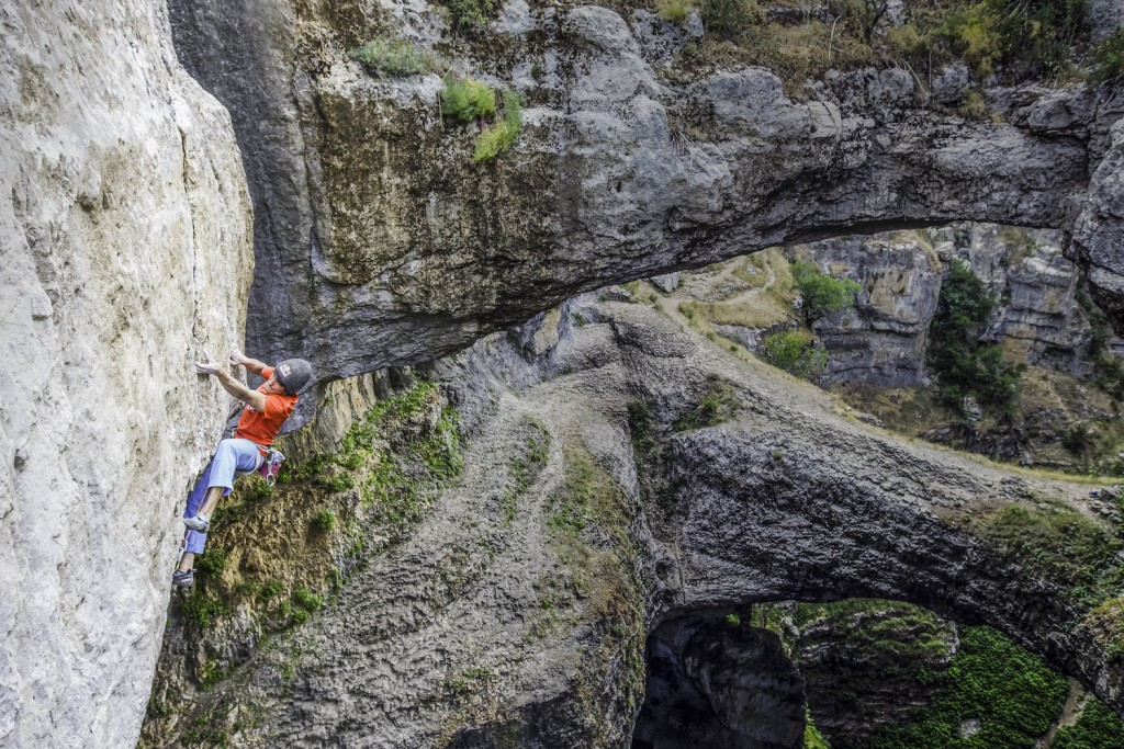 David Lama climbs the first ascent of Avaatara (5.14d) in the Baatara Gorge near Tannourine, Lebanon on June 18th, 2015.
